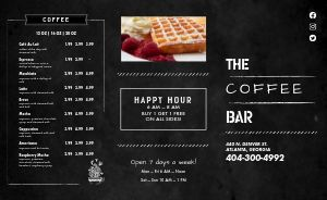 Coffee Bar Breakfast Takeout Menu
