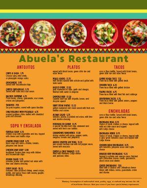 Mexican Plates Menu