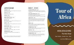 Colorful African Cuisine Takeout Menu