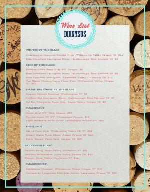 Cork Wine List Menu