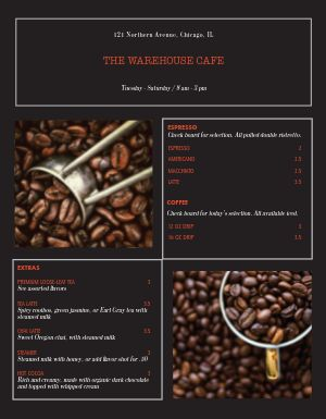 Coffee Roast Master Menu