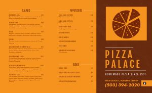 Pizza Palace Takeout Menu