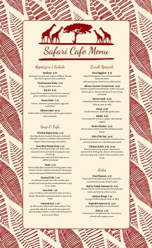 African Cafe Menu