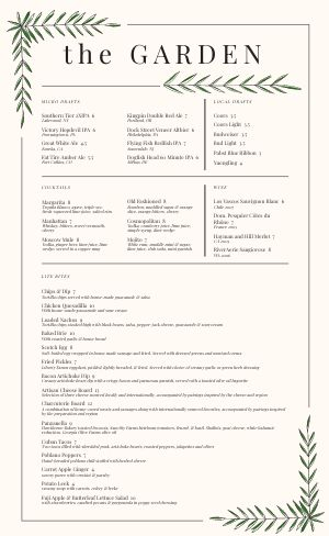 Leafy Bar Menu
