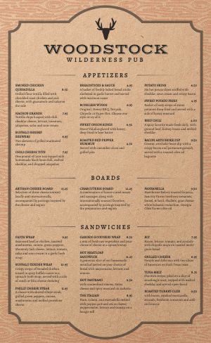 Wilderness Pub Menu