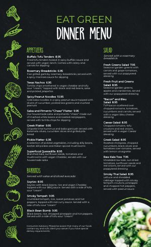 Vegan Vegetables Menu