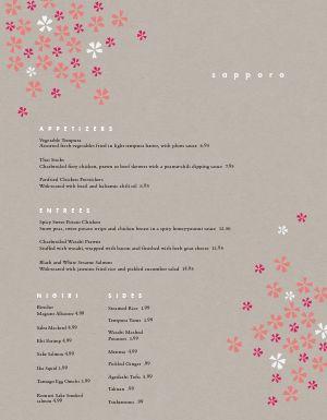 Floral Japanese Menu