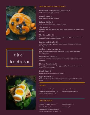 Breakfast Specialities Menu