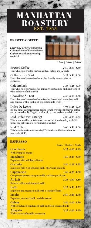 Coffee Half Page Menu