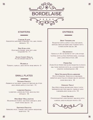 Bordeaux Fine Dining Menu