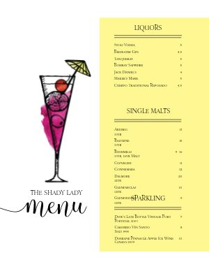 Ladies Cocktail Bar Menu