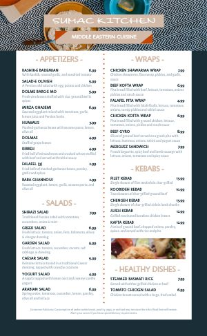Modern Greek Menu