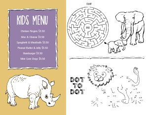 Safari Kids Menu