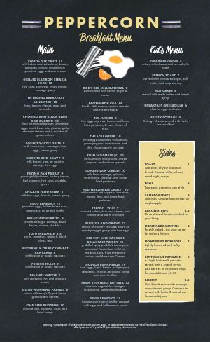 Charcoal Breakfast Menu