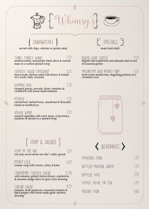 Quaint Cafe A4 Menu