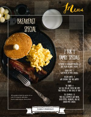 Breakfast Pancake Special Menu