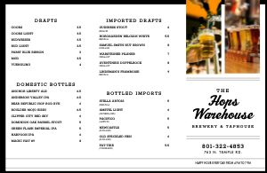 Brewery Beer Folded Menu