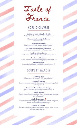 French Stripes Menu