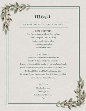 Classic Private Event Menu