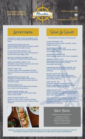 Wooden Seafood Menu