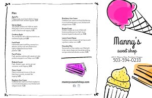 Fun Dessert Folded Menu