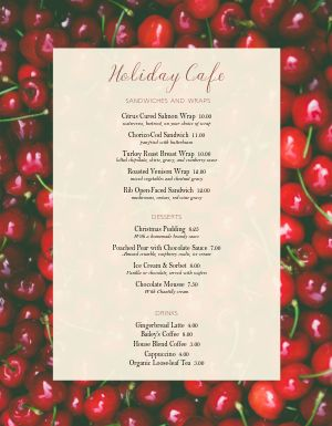 Cherry Christmas Menu