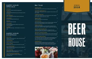 Beer House Folded Menu