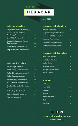 Contemporary Beer Menu