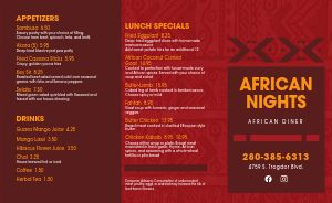 African Diner Takeout Menu