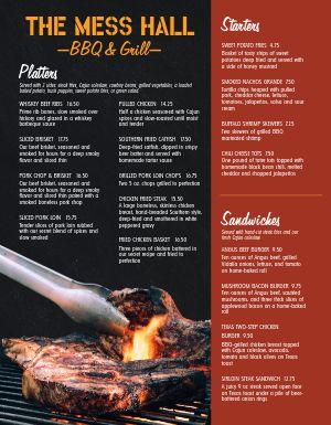 BBQ Grilling Menu