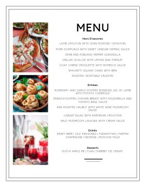 Corporate Event Menu