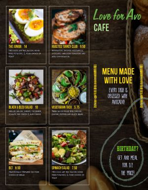 Avocado Cafe Menu
