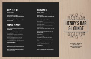 Rustic Cocktail Folded Menu