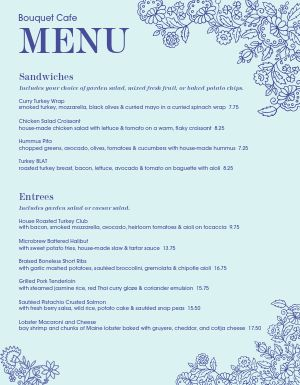 Botanic Cafe Menu