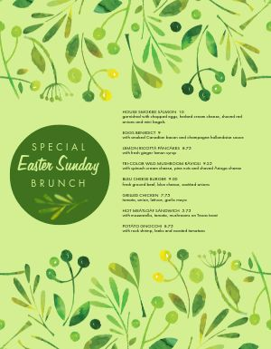 Easter Brunch Specials Menu
