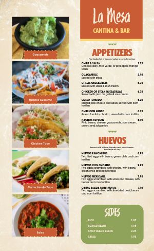 Cantina Bar Mexican Menu