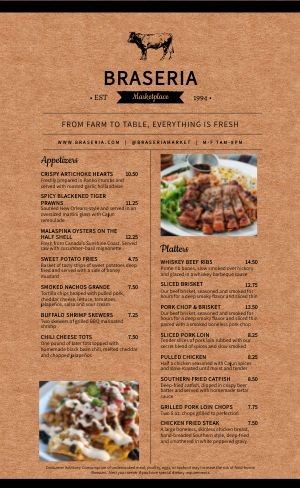 Farm Steakhouse Menu