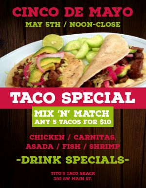 Cinco De Mayo Taco Specials Flyer