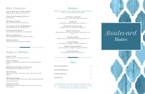 Aqua French Folded Menu