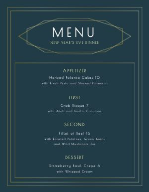 New Years Eve Set Meal Menu