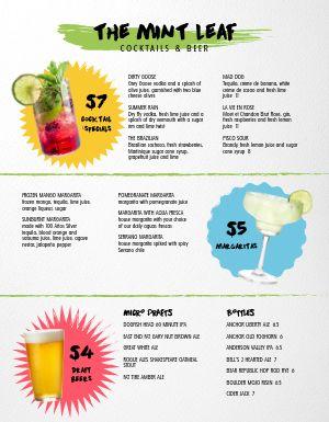 Drink Specials Bar Menu
