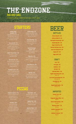 Endzone Sports Bar Menu