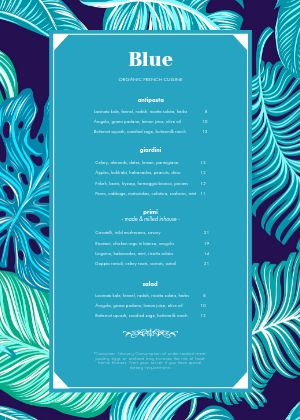 Blue French A4 Menu