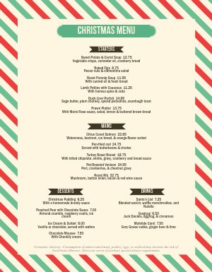 Striped Christmas Menu