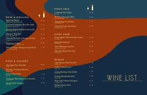 Colorful Wine List Folded Menu
