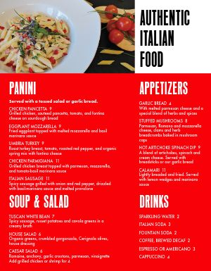 Homemade Italian Menu