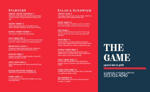 Game Sports Bar Takeout Menu