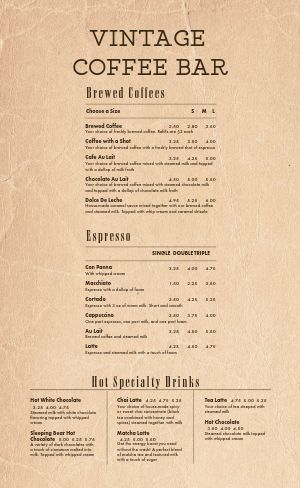 Vintage Coffee Bar Menu