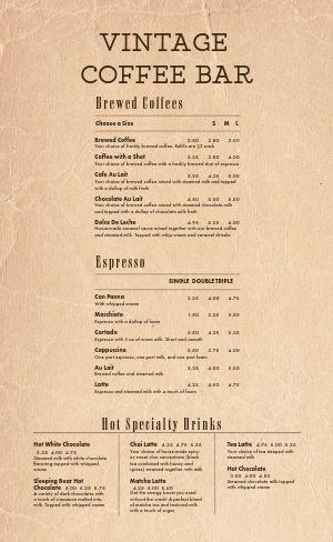 Vintage Coffee Bar Menu