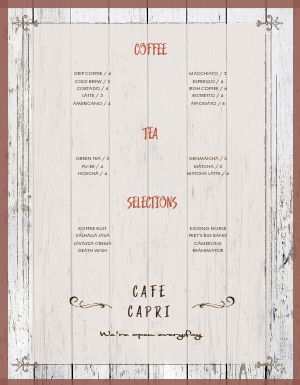Wooden Coffee Menu
